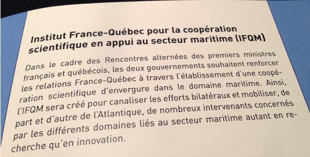 Institut maritime franco-québécois, c'est pour bientôt...