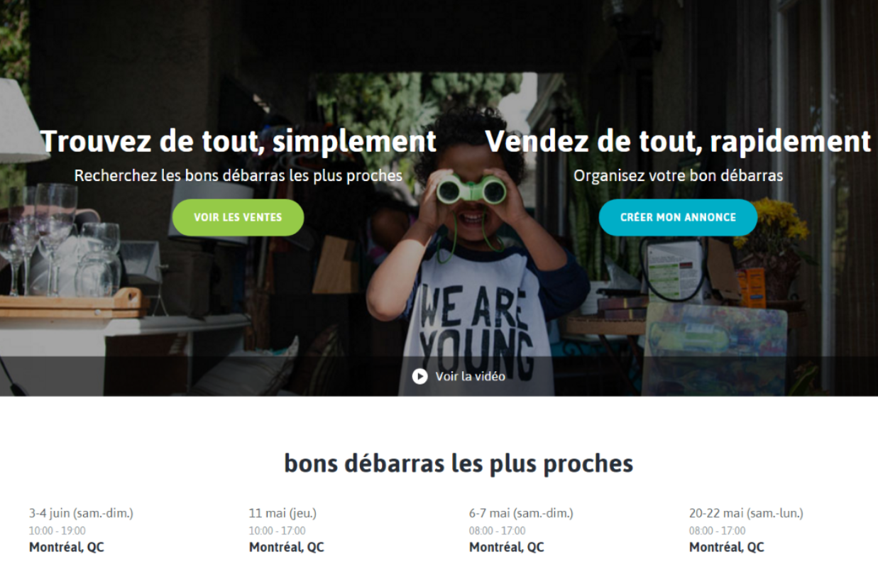 Bon-débarras, l'annuaire des ventes de garage créé par deux Français de Montréal