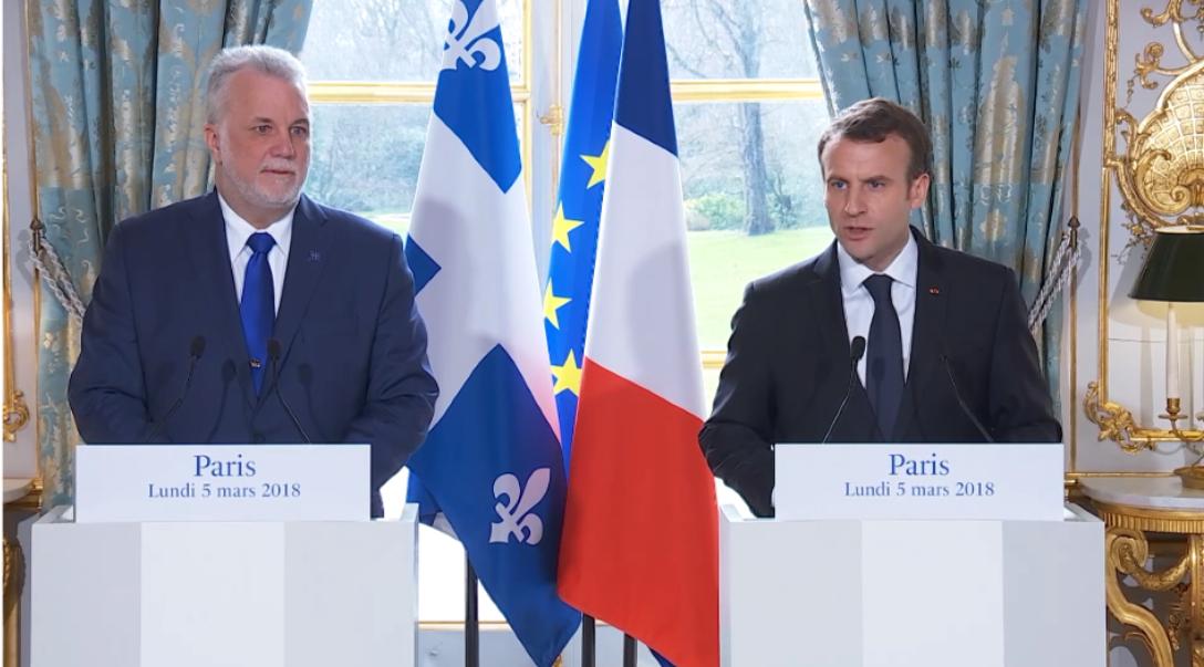 """Émmanuel Macron à Philippe Couillard: """"Il n'y a jamais rien d'innocent entre la France et le Québec"""""""