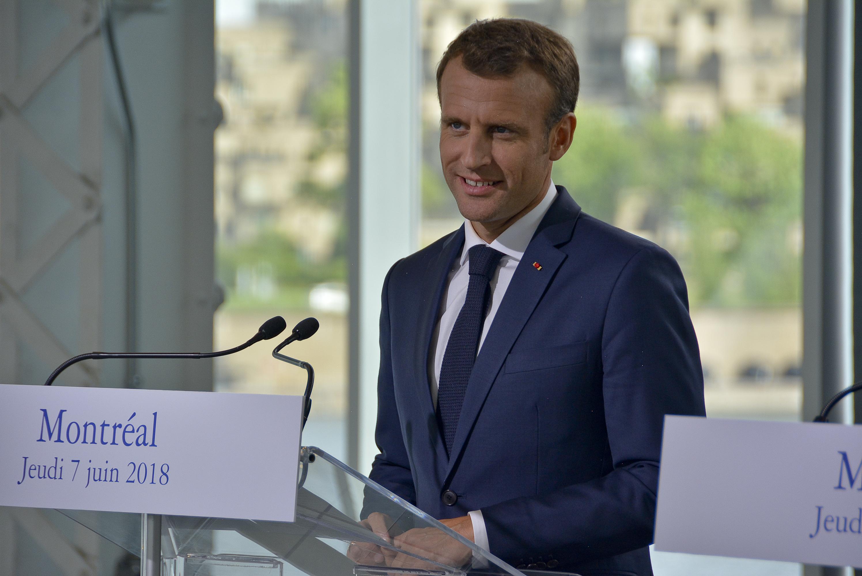 Le président Emmanuel Macron fait un passage éclair à Montréal